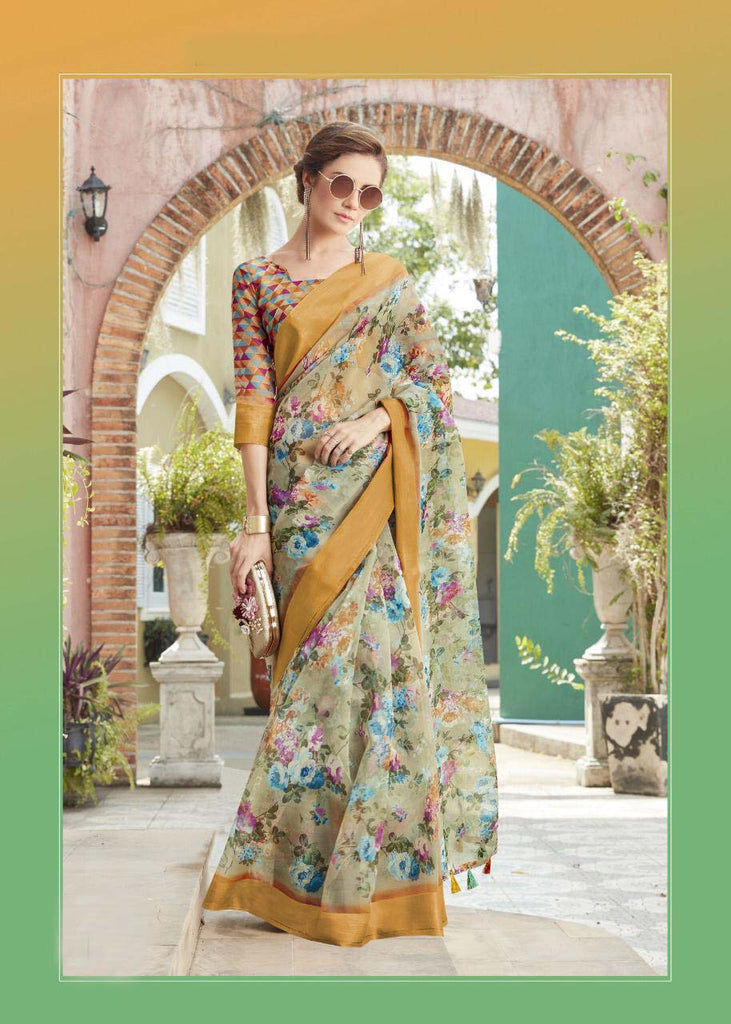 Surpassing Pure Linen Multi Colored Casual Printed Saree