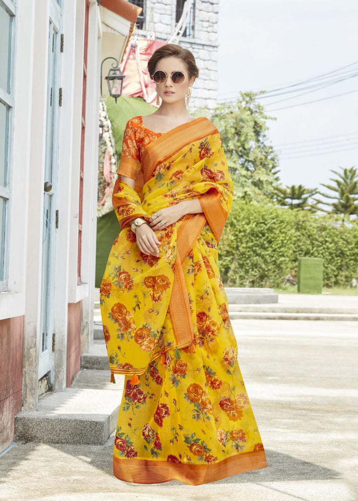 Stunning Pure Linen Yellow Colored Casual Printed Saree