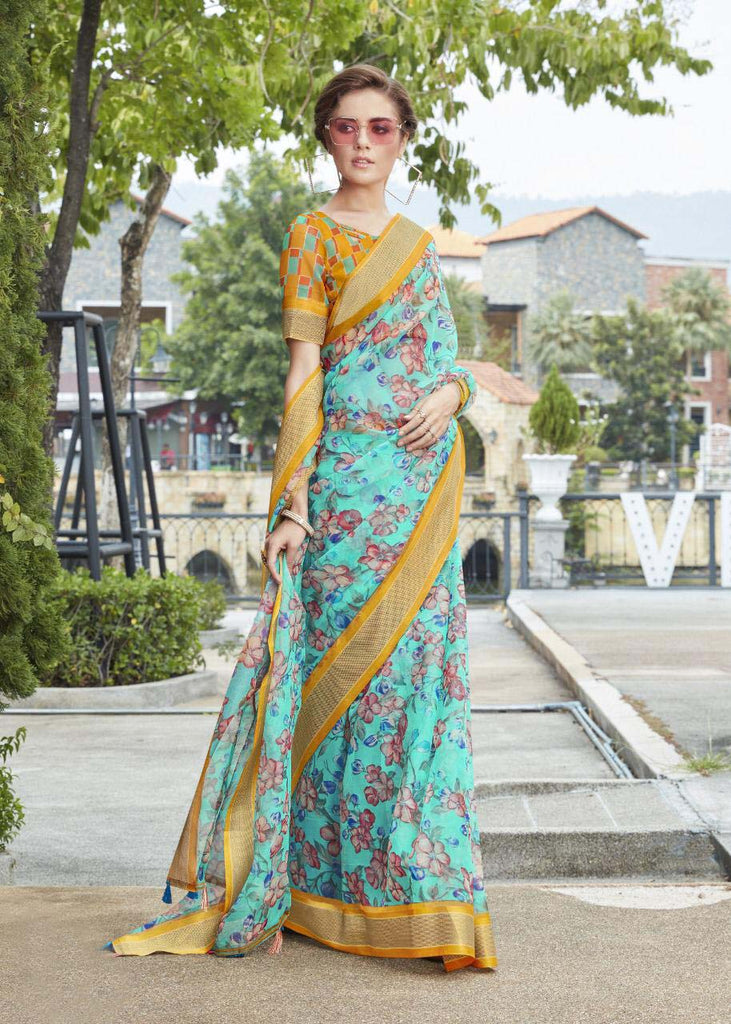 Trendy Pure Linen Sky Blue Colored Casual Printed Saree