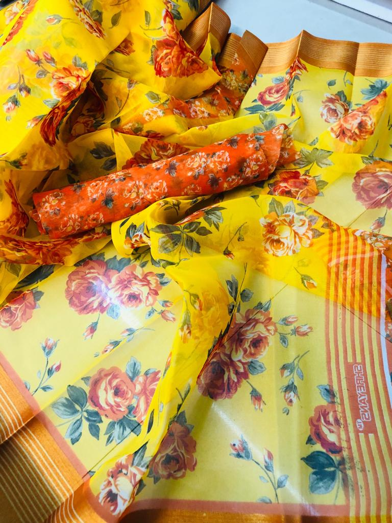 Elegant Pure Linen Yellow Colored Casual Printed Saree
