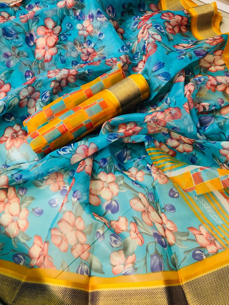 Elegant Pure Linen Sky And Yellow Colored Casual Printed Saree