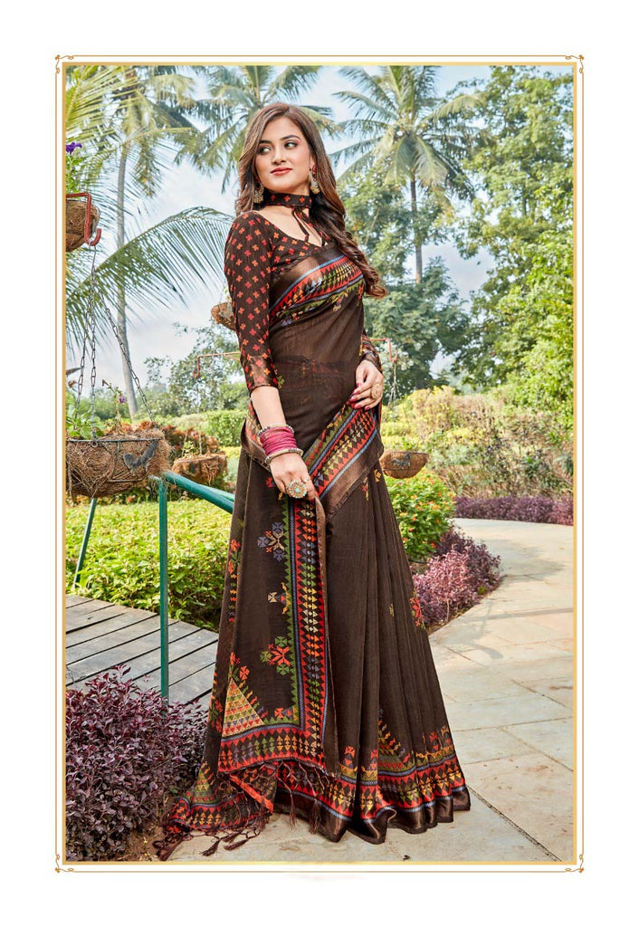Trendy Pure Linen Brown Colored Casual Printed Saree