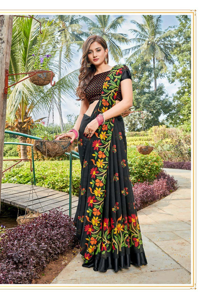 Sophisticated Pure Linen Black Colored Casual Printed Saree