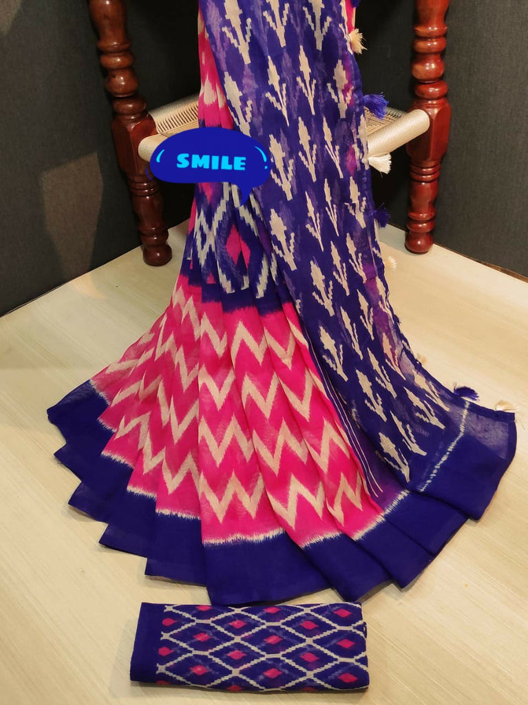 Opulent Pure Linen Pink And Blue Colored Casual Printed Saree