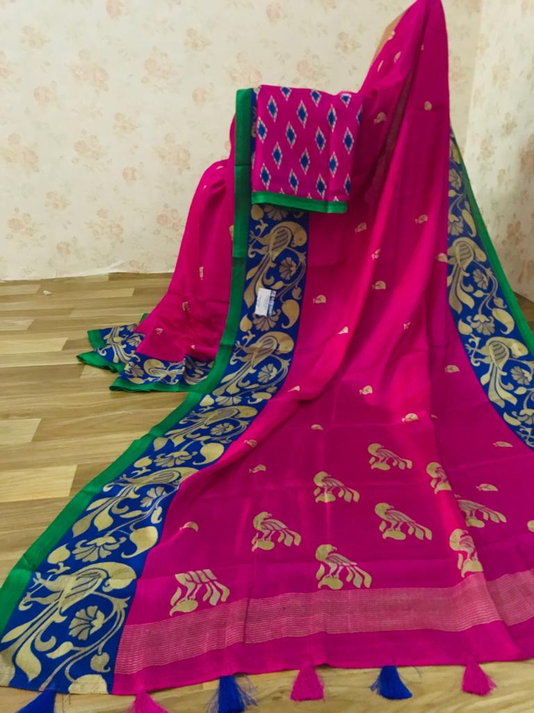 Trendy Pure Linen Rani Pink Colored Casual Printed Saree