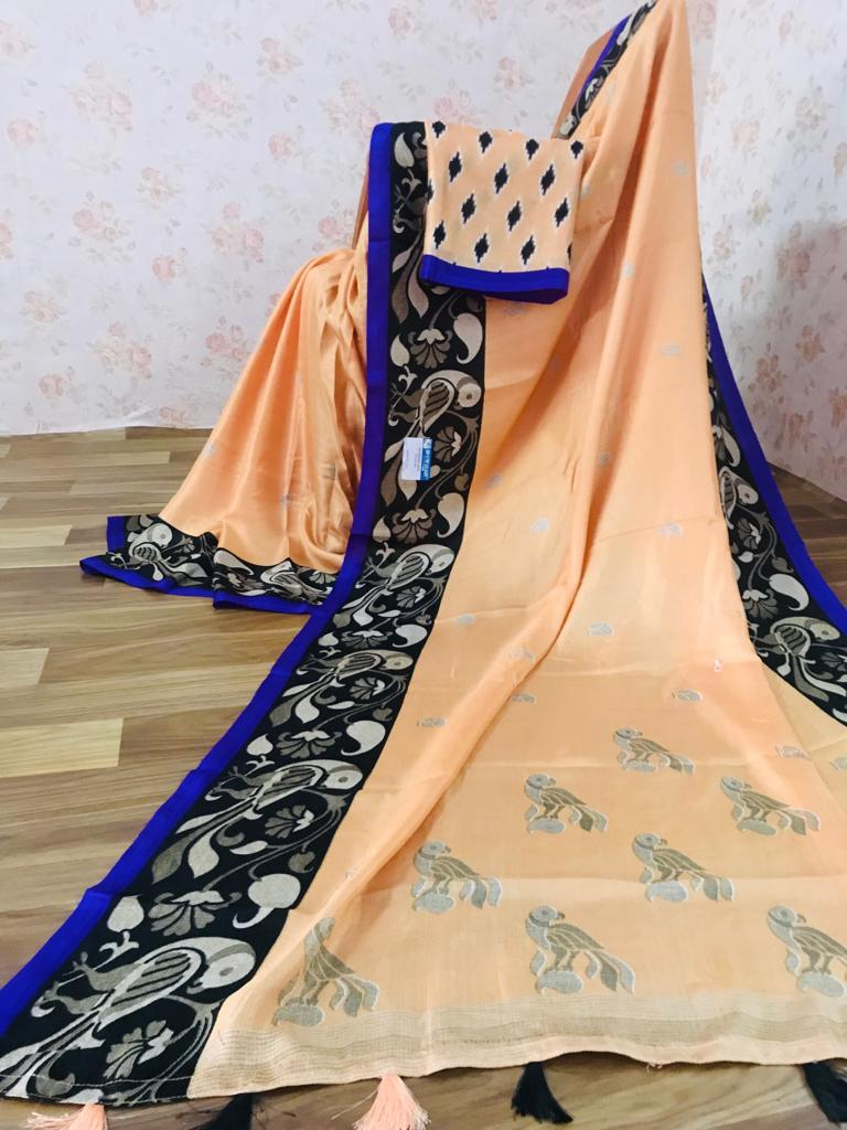 Imposing Pure Linen Peach Colored Casual Printed Saree