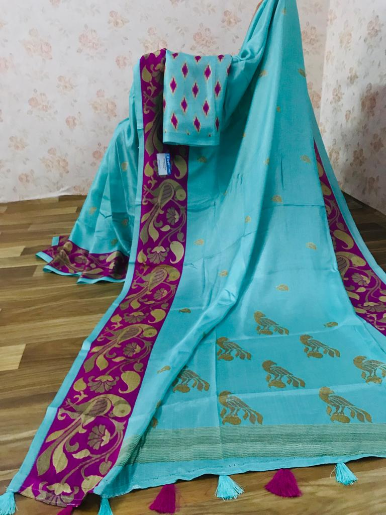 Sophisticated Pure Linen Sky Blue Colored Casual Printed Saree