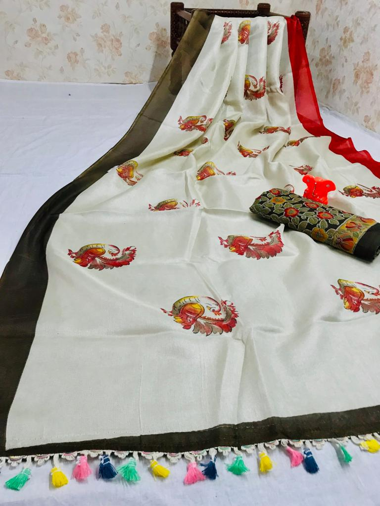 Adorning Pure Linen Off White Colored Casual Printed Saree