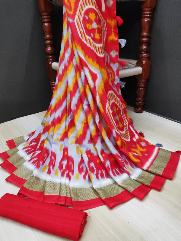 Graceful Pure Linen Red Colored Casual Printed Saree