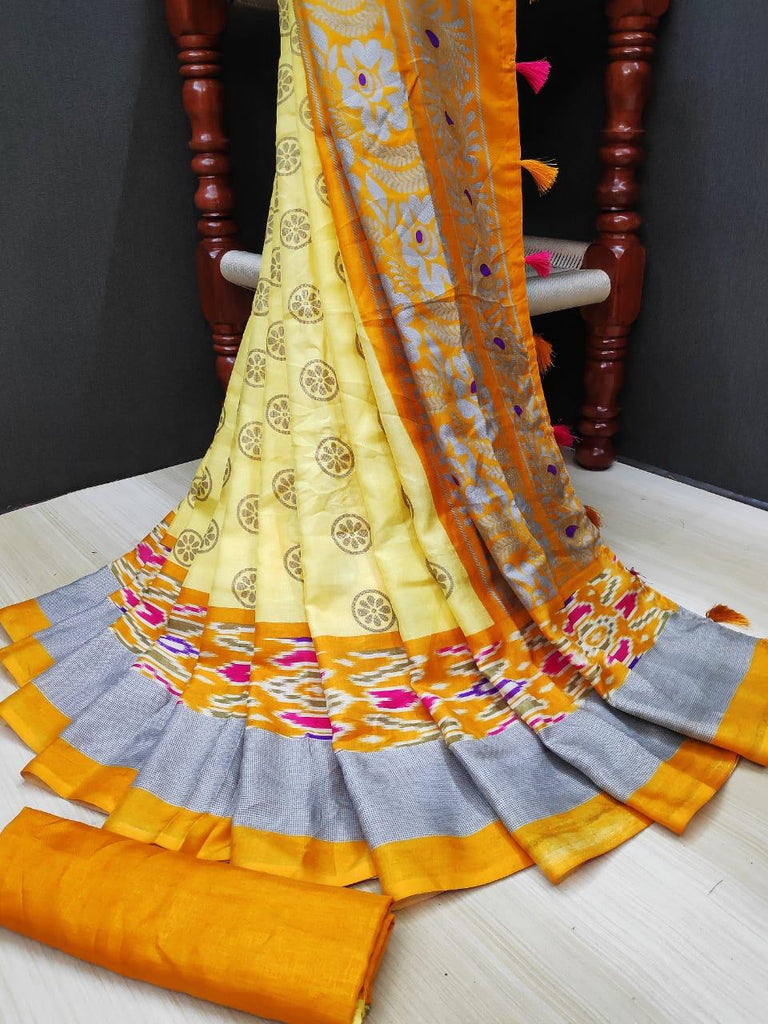 Engrossing Pure Linen Yellow Colored Casual Printed Saree