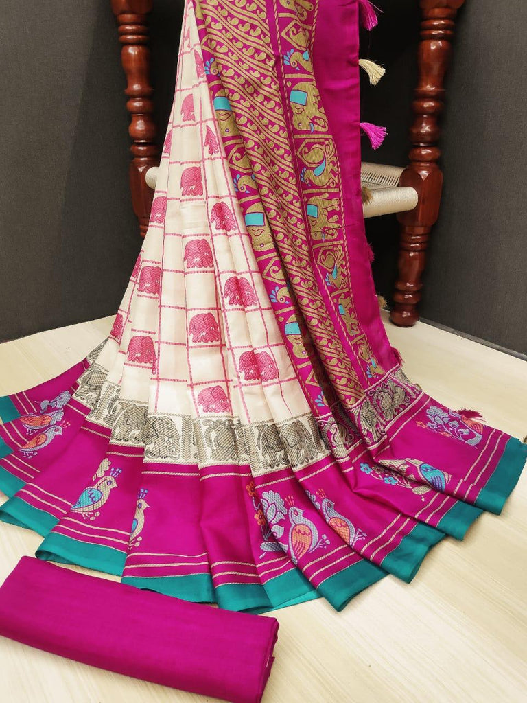 Mesmerising Pure Linen Pink Colored Casual Printed Saree