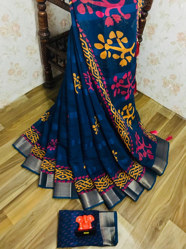 Imposing Pure Linen Blue Colored Casual Printed Saree