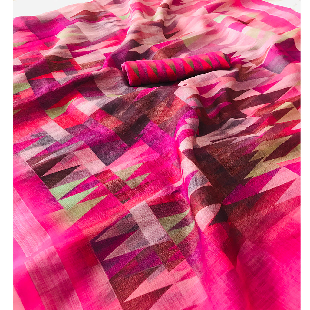 Breathtaking Pink Colored Casual Wear Pure Linen Saree