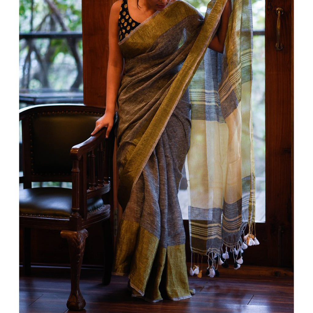 Entrancing Grey Colored Festive Wear Pure Linen Designer Saree