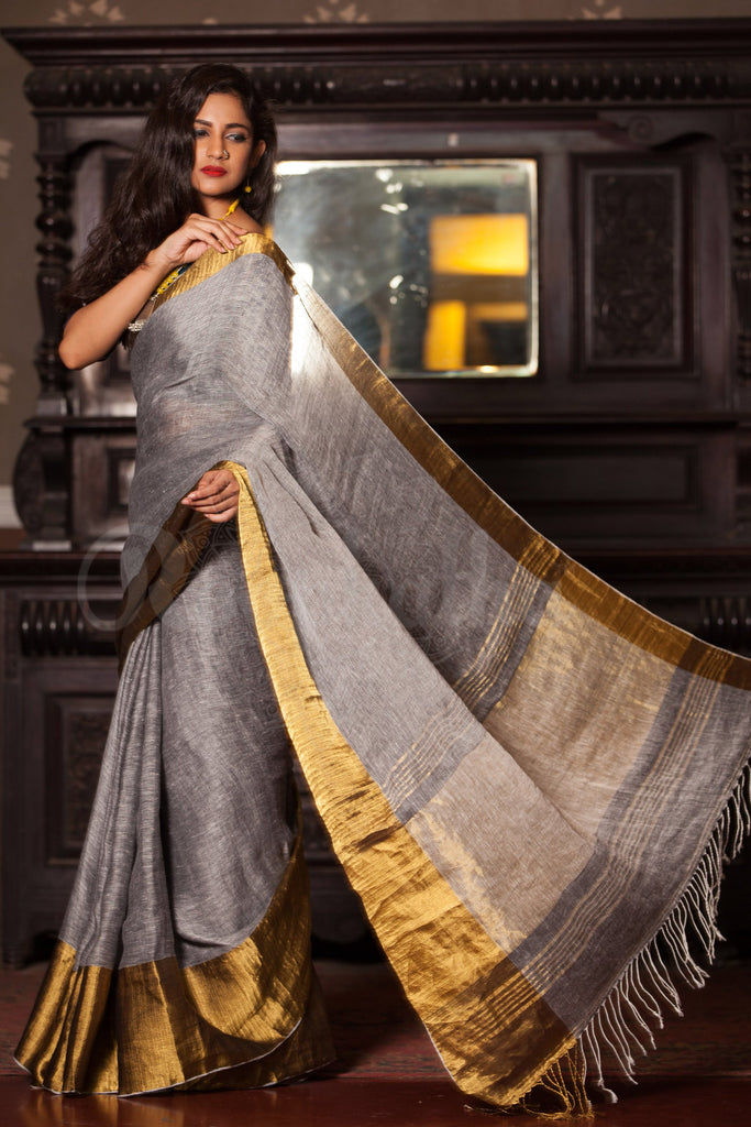 Awesome Grey And Gold Pure Linen Designer Saree