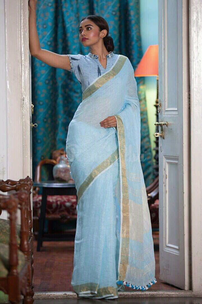 Imposing Sky Blue Pure Linen Designer Saree