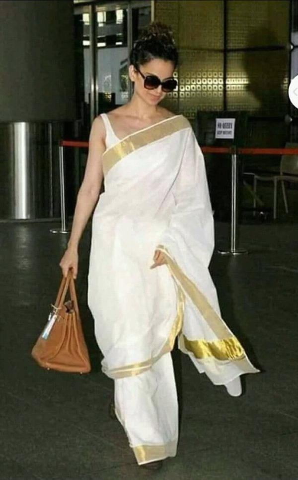 Kangana Ranaut Special White And Gold Pure Linen Designer Bollywood Saree
