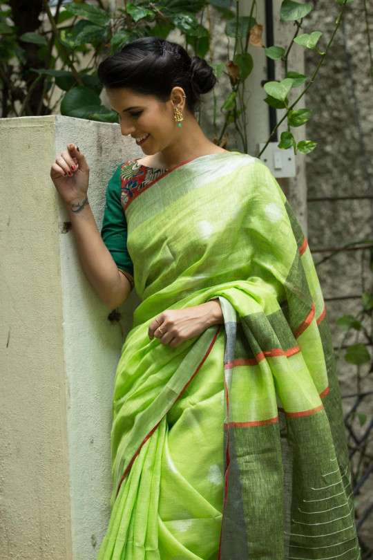 Radiant Green Pure Linen Designer Saree