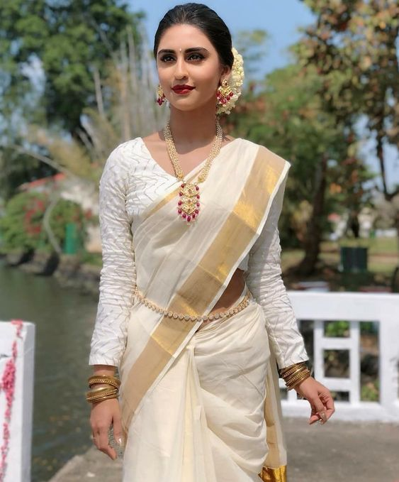 Krystle D'souza Special White Linen Designer Embroidered Saree