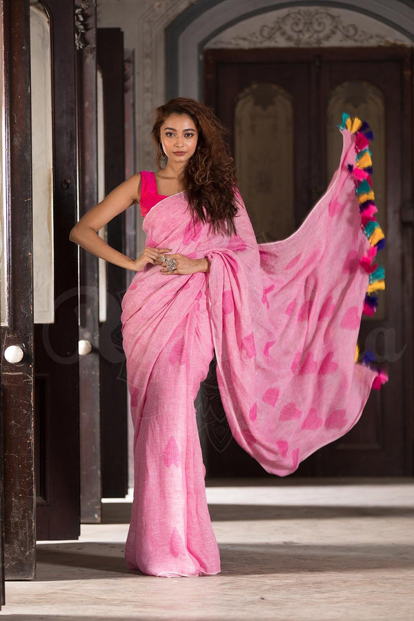 Imposing Pink Casual Printed Pure Linen Saree