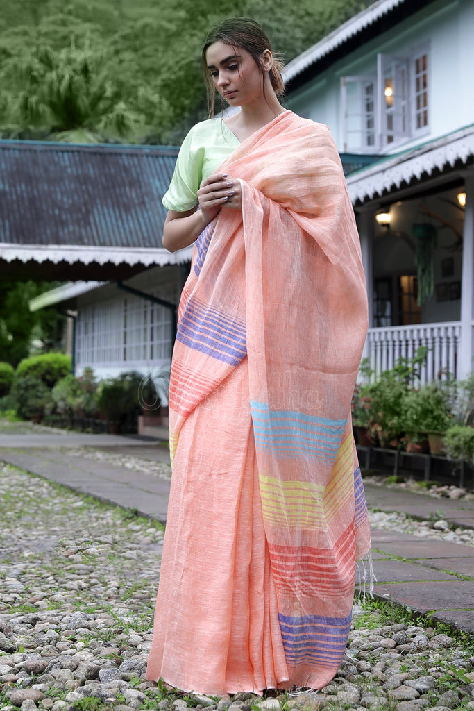 Glorious Peach Casual Printed Pure Linen Saree