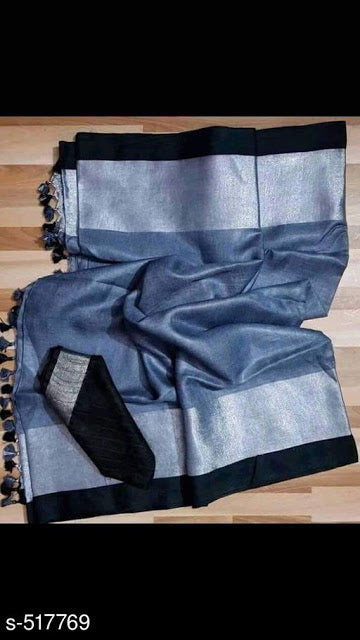 Ideal Grey linen saree with black and silver border