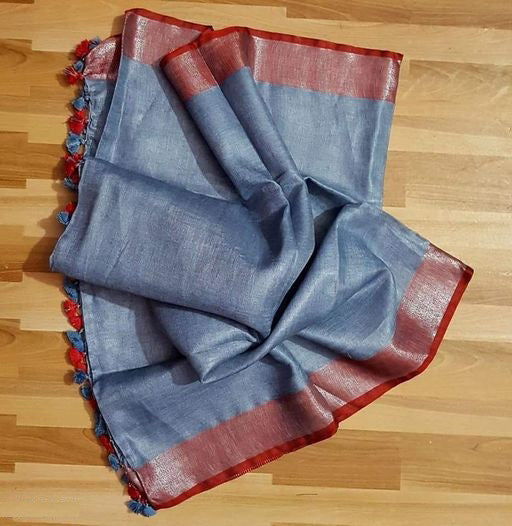 Elegant Grey And Red Colored Casual Pure Linen Saree
