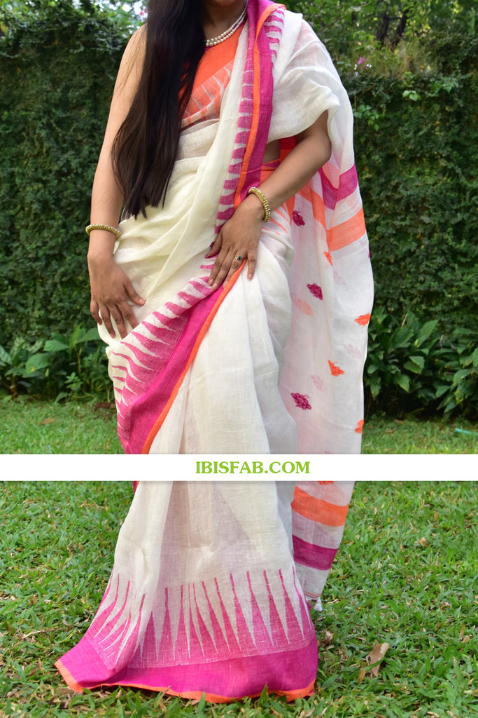 Sensational White And Pink Colored Festive Wear Checks Print Pure Linen Saree