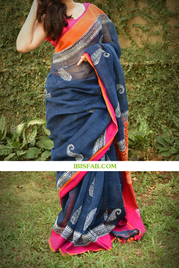 Groovy Navy Blue And Pink Colored Festive Wear Pure Linen Saree