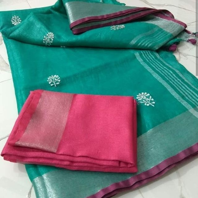 Fantastic Green And Pink Colored Casual Printed Pure Linen Saree
