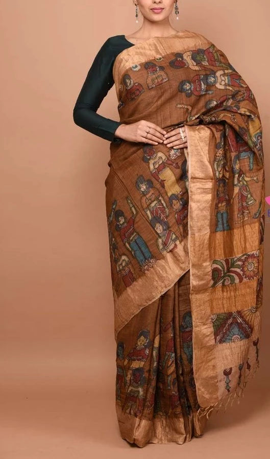 Lovely Green And beige Colored Festive Wear Linen Saree