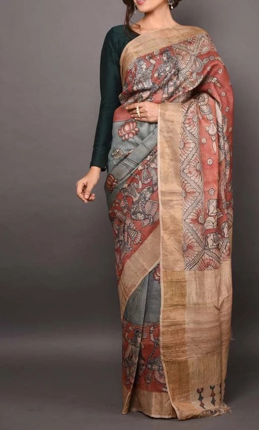 Gleaming Green And Grey Colored Casual Printed Linen Saree