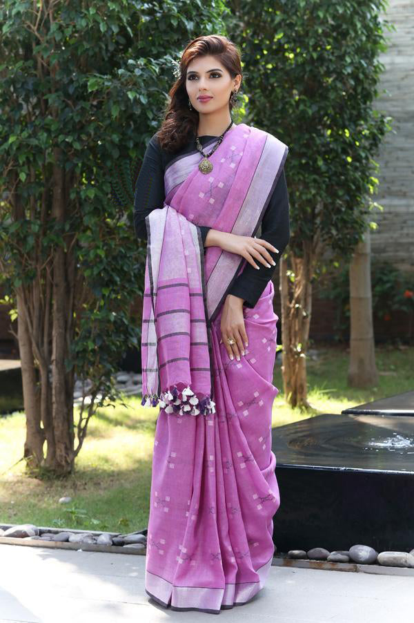 Gorgeous Purple  Colored Casual Wear Printed Linen Saree