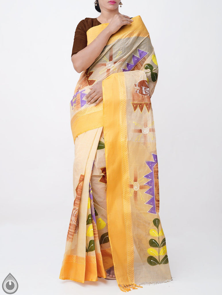 Demanding Yellow & Cream Pure Colored Festive Wear Linen Designer Saree