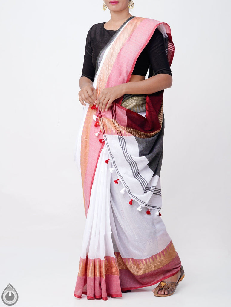 Innovative Grey Pallu And White Colored Festive Wear Linen Designer Saree