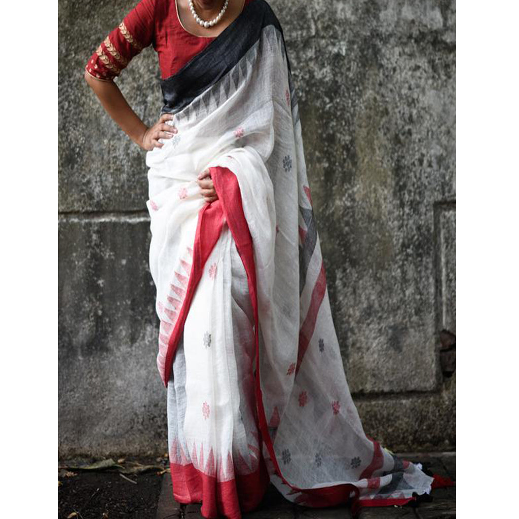 Opulent White And Red Colored Festive Wear Pure Linen Designer Saree