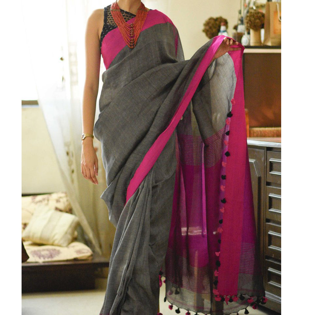 Dazzling Grey And Pink  Colored Festive Wear Pure Linen Designer Saree