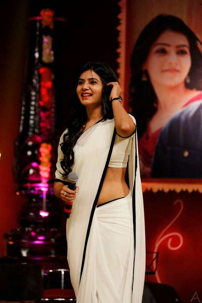 Samantha Fame Groovy White Colored Festive Wear Pure Linen Saree