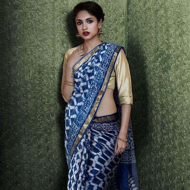 Glowing Blue Colored  Festive Printed  Pure Linen Saree