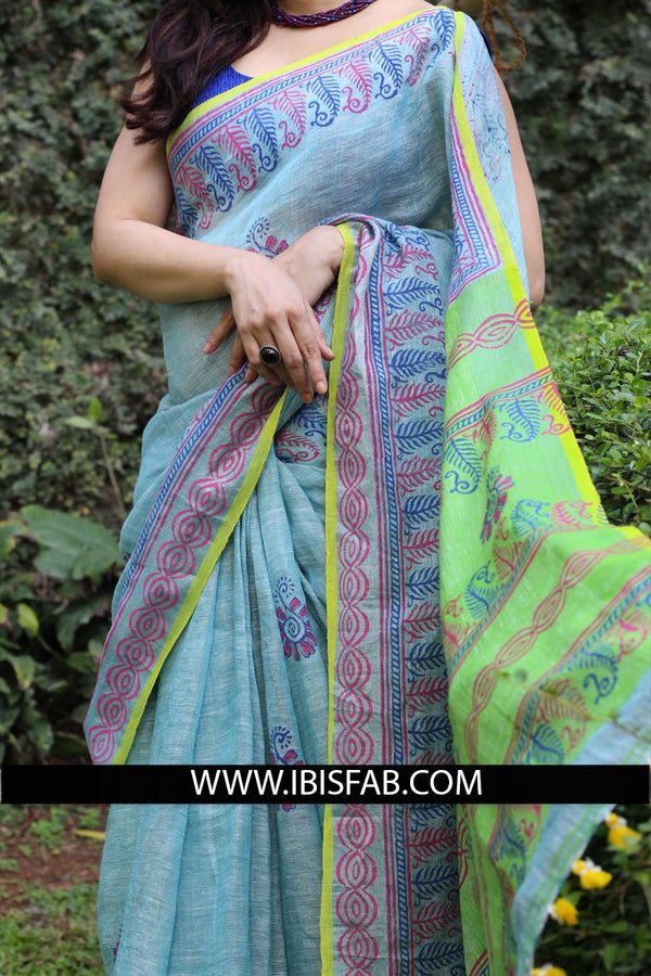 Classy Light Sky Blue Colored Casual Printed Pure Linen Saree