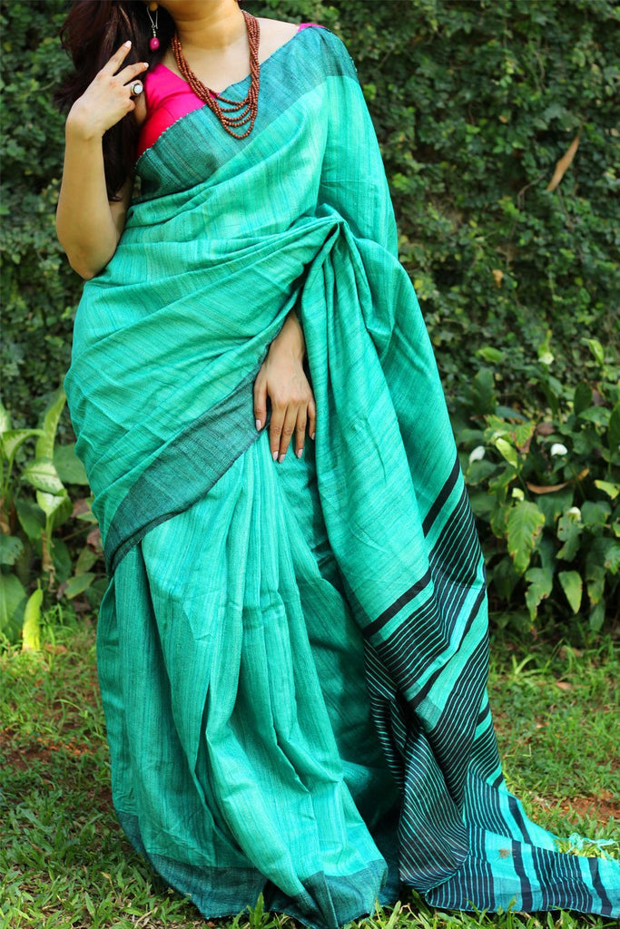 Flattering Rama Colored Printed Pure Linen Saree