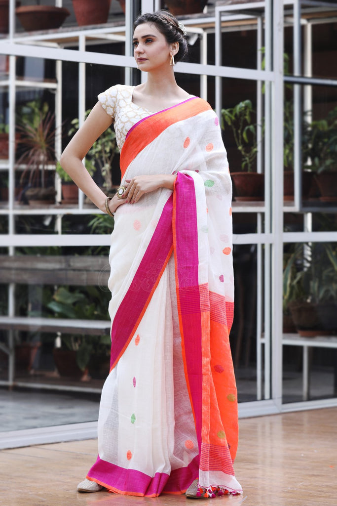 Flaunt  White And Pink Colored  Festive Wear Printed  Pure Linen Saree