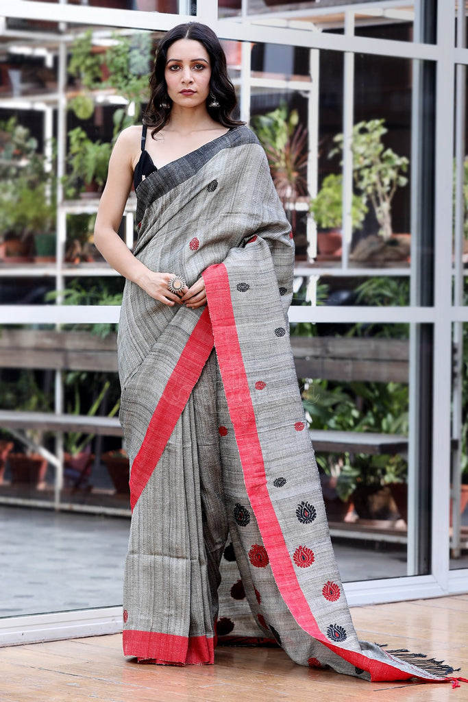 Hypnotic  Grey Colored  Festive Wear Printed  Pure Linen Saree