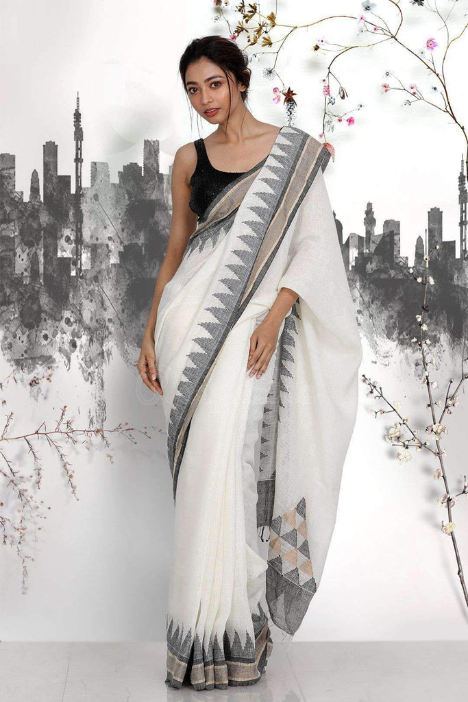 Mesmeric White And Black Colored  Festive Wear Printed  Pure Linen Saree