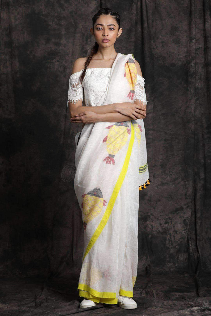 Eye-catching White And Yellow Colored  Festive Wear Printed  Pure Linen Saree
