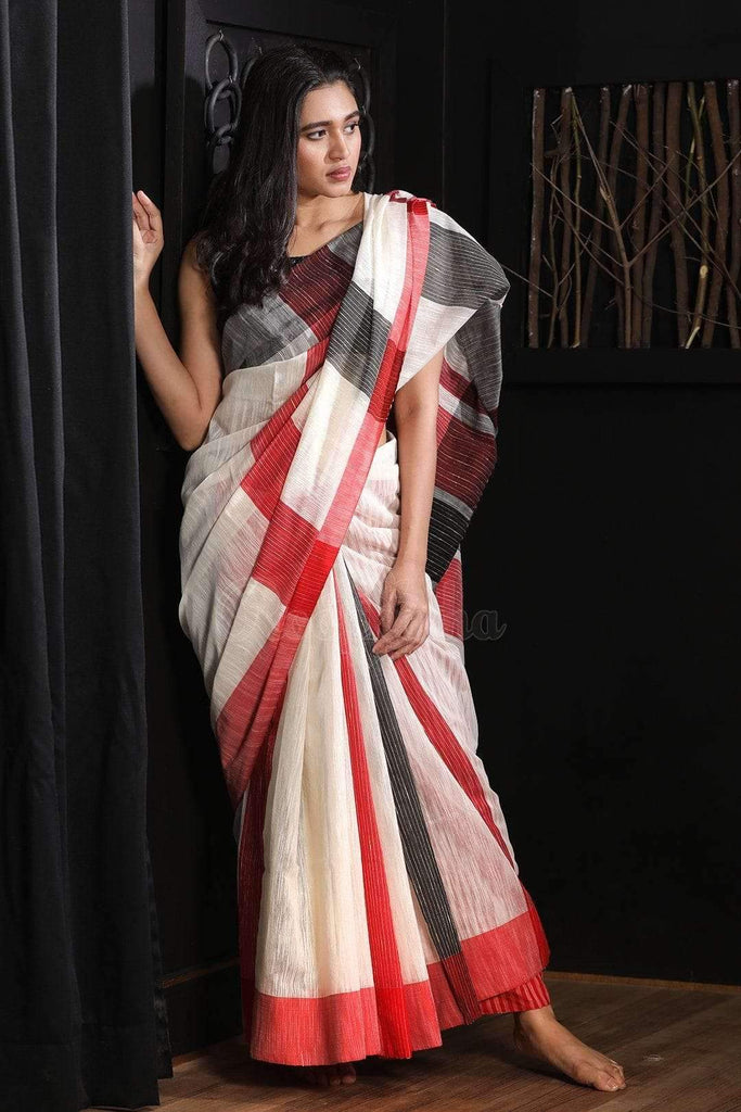 Flamboyant  White And Red Colored  Festive Wear Printed  Pure Linen Saree