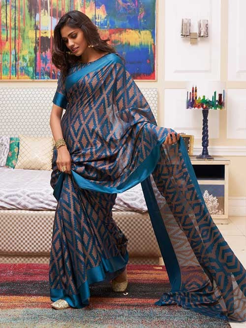 Opulent Grey And Blue Colored  Festive Wear Printed  Pure Linen Saree