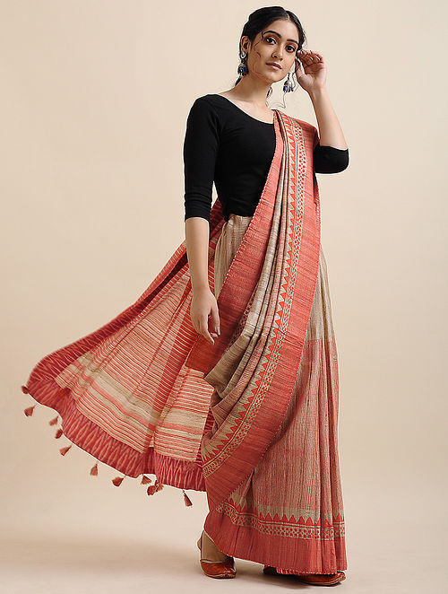 Beautiful Festive Wear Red And Cream Colored   Printed  Pure Linen Saree