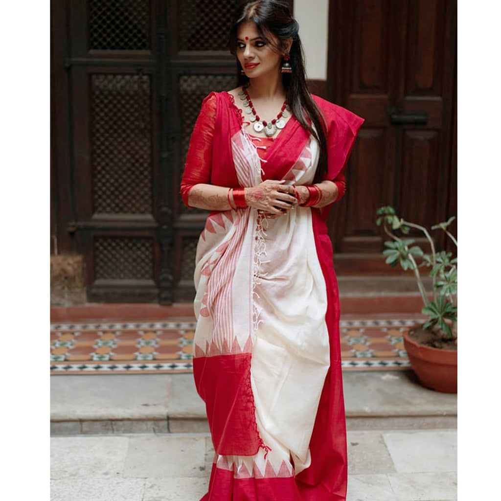 Alluring  Festive Wear White And Pink Colored   Printed  Pure Linen Saree