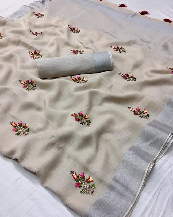 Magnetic Grey Colored  Festive Wear Printed  Pure Linen Saree